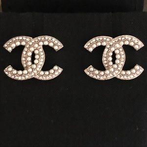 Chanel Large Silver CC Earrings w/Pearls & Crystal
